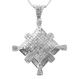 Diamond (Rnd and Bgt) Pendant with Chain in Platinum Overlay Sterling Silver 1.00 Ct.