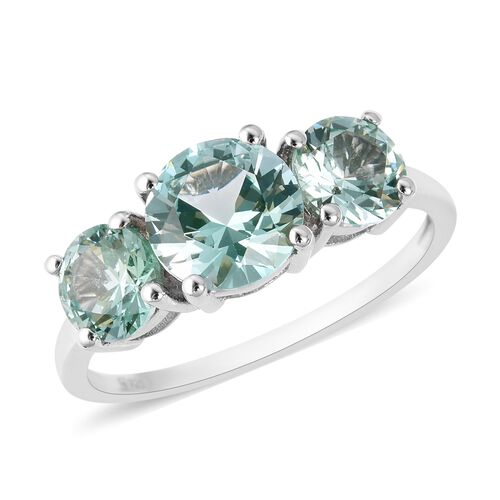 Lustro Stella Simulated Green Spinel Trilogy Ring in Rhodium Plated Silver