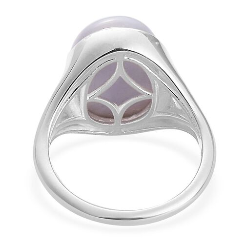 Blue Lace Agate, Natural Cambodian Zircon Ring in Sterling Silver 5.75 Ct.