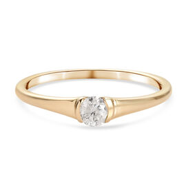9K Yellow Gold SGL Certified Natural Diamond ( I2-I3/G-H) Solitaire Ring 0.25 Ct.