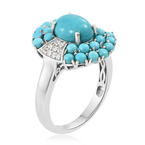 Arizona Sleeping Beauty Turquoise (Ovl 2.40 Ct), Natural Cambodian Zircon Ring in Platinum Overlay Sterling Silver 4.250 Ct.