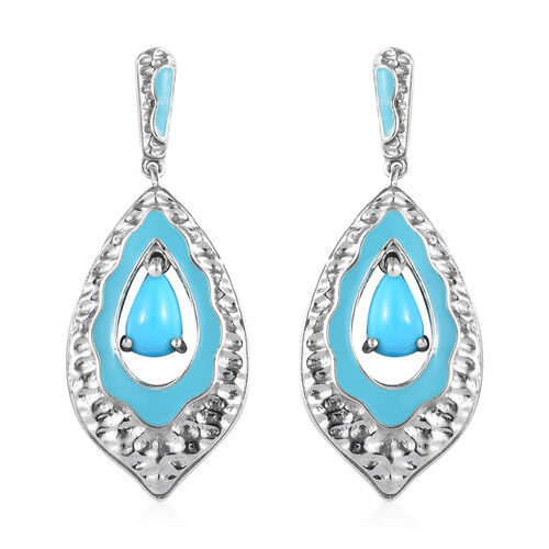 Arizona Sleeping Beauty Turquoise Enamelled Earrings (with Push Back) in Platinum Overlay Sterling S