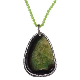 Green Agate, Simulated Emerald, Hematite and White Austrian Crystals Necklace (Size 33) in Silver Pl