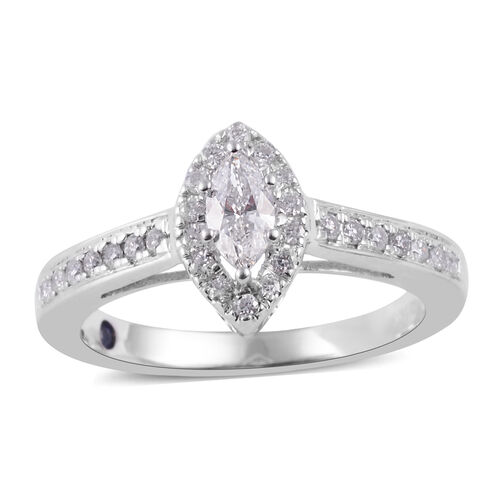 Limited Available- NY Close Out Deal- 14K White Gold Diamond (Mrq) (I2-I3 /G-H) and Kanchanaburi Blu