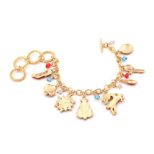 Multi Colour Austrian Crystal and Simulated Multi Gemstone Christmas Theme Enamelled Charm Bracelet (Size 10 with Extender) in Yellow Gold Tone