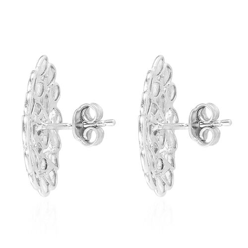 Artisan Crafted Polki Diamond Stud Earrings (with Push Back) in Platinum Overlay Sterling Silver 1.50 Ct.