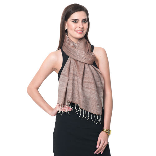 Mulberry Silk, Merino Wool Blend (50%) Handloom Chocolate and Silver Colour Reversible Motif Scarf (