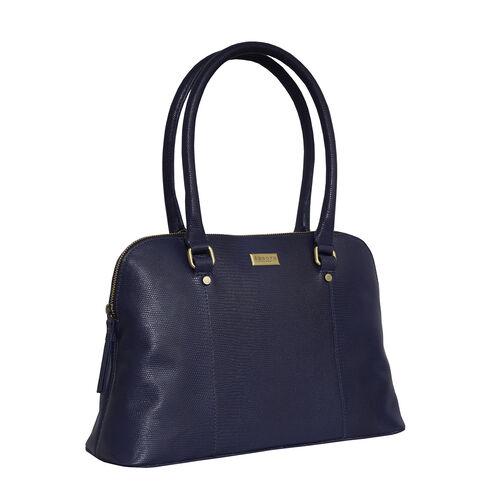 Assots London SYDNEY Lizard Designer Genuine Leather Grab Bag with Detachable and Adjustable Shoulder Strap (Size 36x13x24 Cm) - Navy