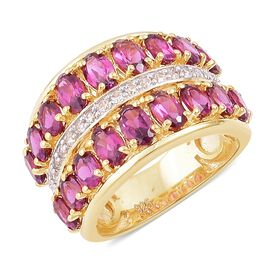 Rhodolite Garnet (Ovl), Natural White Cambodian Zircon Ring in Yellow Gold Overlay Sterling Silver 4.800 Ct. Silver wt. 5.25 Gms.