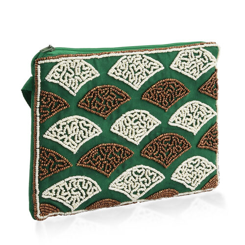 New Season Hand Stitched Green Satin Bag with White and Golden Beads  (Size 22x15 Cm)