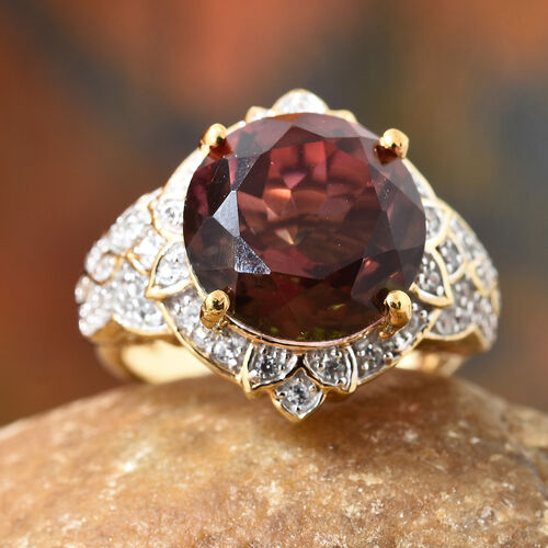 Finch Quartz (Rnd), Natural Cambodian Zircon Floral Ring in 14K Gold Overlay Sterling Silver 7.500 Ct, Silver wt 5.54 Gms.