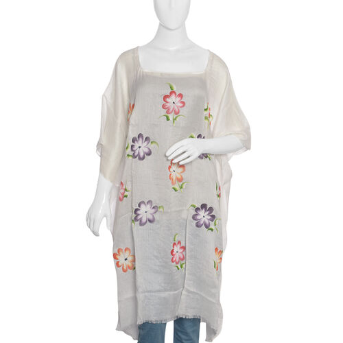 Designer Inspired Hand Painted  White and Multicolour Beach Tree Pattern Kaftan (Free Size)