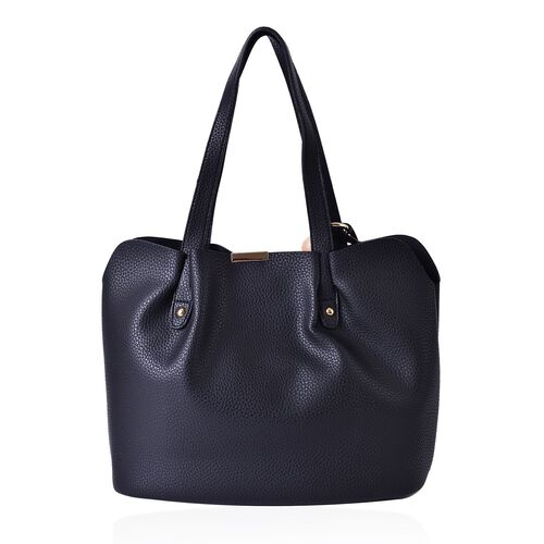 Dazzling Black Carryall Tote Bag with Wooden Design Tassel (Size 31x25x15 Cm)