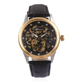 GENOA Automatic Skeleton Black and Golden Cut Out Pattern Dial with White Austrian Crystal Studded Water Resistant Watch in Silver Tone with Black Leather Strap