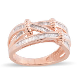 14K Rose Gold Diamond (Bgt) (I2 /G-H) Ring 0.500 Ct, Gold wt 5.00 Gms.