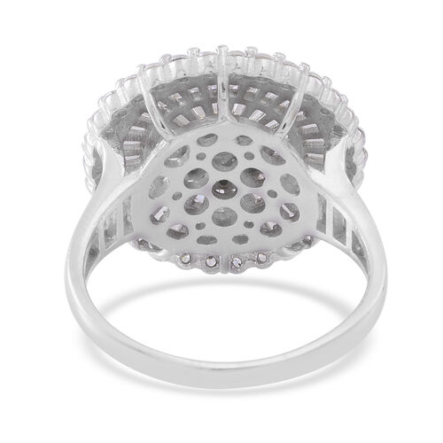 ELANZA Simulated White Diamond (Rnd) Cluster Ring in Rhodium Plated Sterling Silver, Silver wt. 7.89 Gms. Number of Simulated Diamonds 145