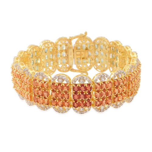 Red Sapphire (Ovl), Songea Green Sapphire, Madagascar Orange Sapphire and Chanthaburi Yellow Sapphire and Natural Combodian Zircon Bracelet (Size 7.5) in 14K Gold Overlay Sterling Silver 50.000 Ct.