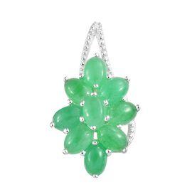 5 Carat Green Jade Floral Cluster Pendant in Sterling Silver