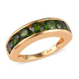 Russian Diopside Half Eternity Band Ring in 14K Gold Overlay Sterling Silver 2.00 Ct.