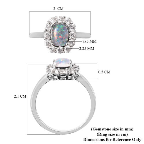 One Time Deal - Australian Boulder Opal and Natural Cambodian Zircon Ring in Rhodium Overlay Sterling Silver