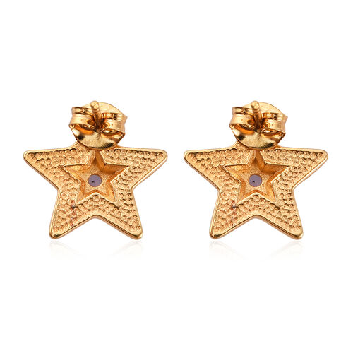 Tanzanite Enamelled Star Earrings (with Push Back) in 14K Gold Overlay Sterling Silver 0.25 Ct.