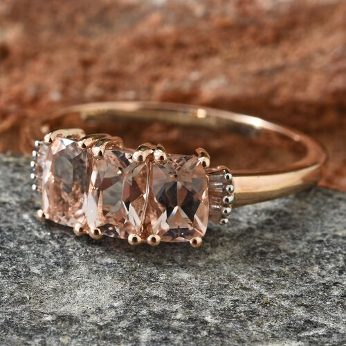 9K Rose Gold AAA Marropino Morganite (Cush), Diamond Ring 1.500 Ct.