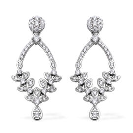 ELANZA Simulated Diamond Drop Earrings in Rhodium Plated Sterling Silver