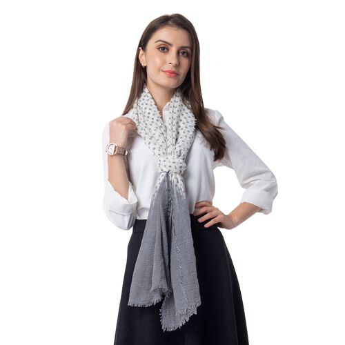 Grey and White Colour Dot Pattern Top and End with Solid Colour Scarf (Size 180x90 Cm)