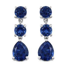 10.25 Ct Minas Gerais Twilight Quartz Dangle Earrings in Platinum Plated Sterling Silver