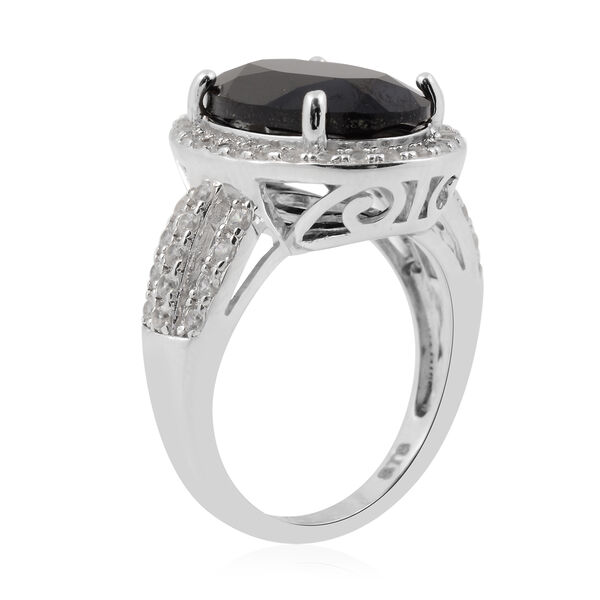 Natural Boi Ploi Black Spinel (Ovl 14x10 mm), Natural White Cambodian Zircon Ring in Rhodium Overlay Sterling Silver 8.05 Ct.