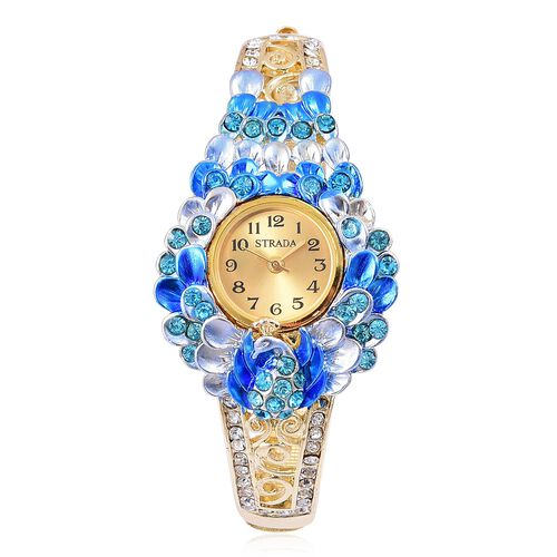 STRADA Japanese Movement Blue and White Austrian Crystal Oil Painted Peacock and Floral Design Bangle Watch in Yellow Gold Tone