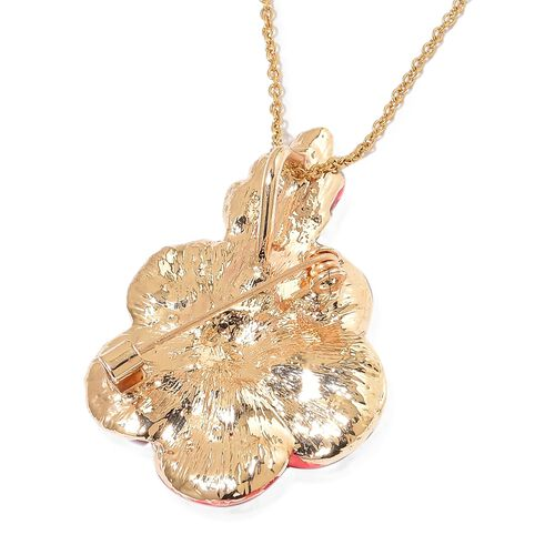 TJC Poppy Design - Austrian White Crystal Flower Enamelled Brooch Cum Pendant with Chain (Size 20) in Gold Tone
