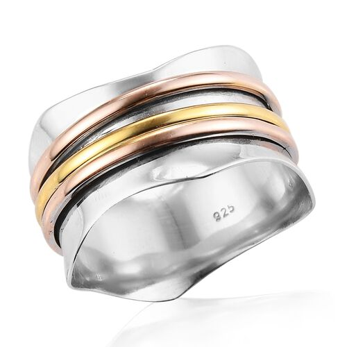 Platinum, Yellow Gold and Rose Gold Overlay Sterling Silver Ring