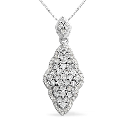 Diamond (Rnd) Pendant with Chain in Platinum Overlay Sterling Silver 0.330 Ct.