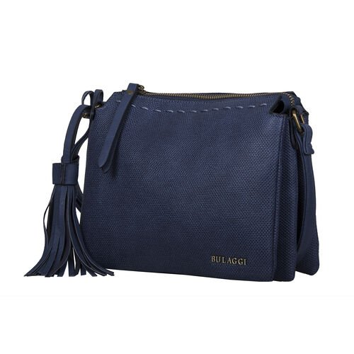 Bulaggi Collection - Gerbera Crossbody Bag with Adjustable Shoulder Strap and Detachable Tassel (Size 23x18x8cm)  - Dark Blue