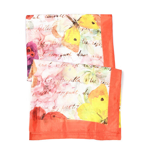Butterfly Pattern HD Digital Print Multi Colour Scarf (Size 100x100 Cm)