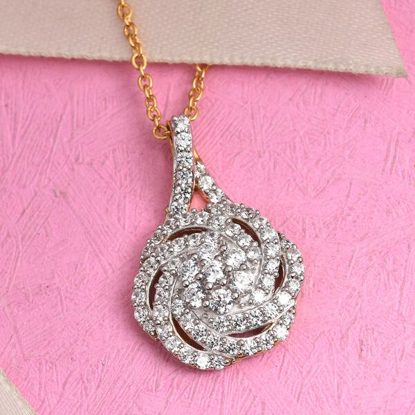 J Francis 14K Gold Overlay Sterling Silver Pendant with Chain (Size 18) Made with SWAROVSKI ZIRCONIA