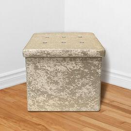 Lesser and Pavey Velvet Folding Storage Ottoman Box in Champagne Colour (Size 35x35x37 cm)