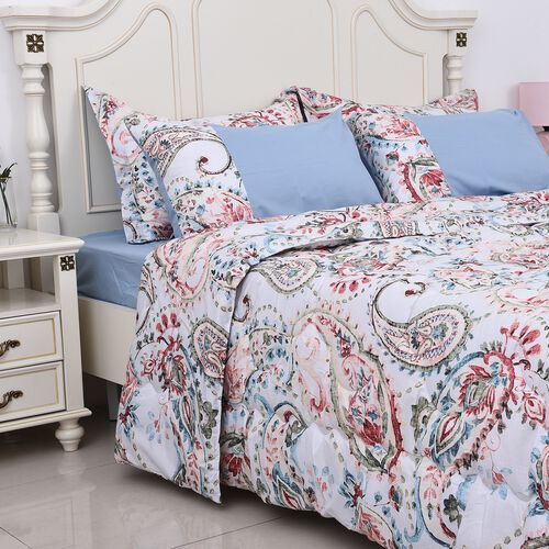 Set of 6 - Paisley Pattern Comforter, Fitted Sheet, 2 Pillow Case and 2 Envelope Pillow Case (Size King) - White, Light Blue and Multi