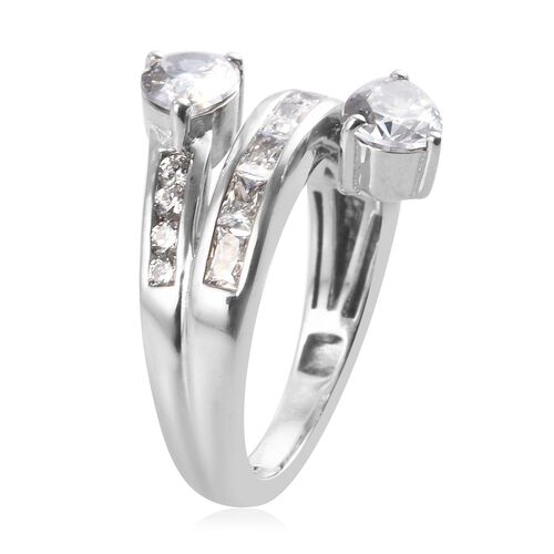 J Francis Platinum Overlay Sterling Silver Ring Made with SWAROVSKI ZIRCONIA 3.42 Ct.