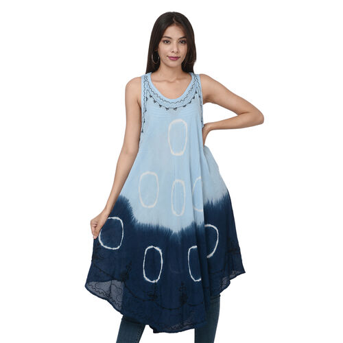 Summer Special- Embroided Tie-Dye Round Neck Umbrella Dress (One Size; L-121cm x W-111cm) - Light an