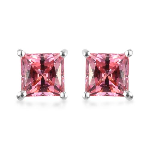 J Francis - Sterling Silver Stud Earrings (with Push Back) Made with PINK SWAROVSKI ZIRCONIA 2.75 Ct
