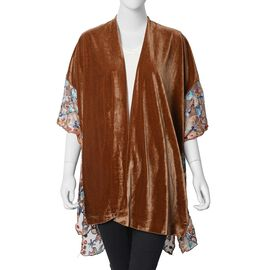 Floral Embroidery Lace Sleeves Nice Velvet Kimono (Size 70x75 Cm) - Brown Colour