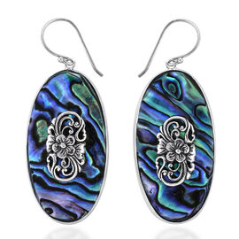 Royal Bali Collection Abalone Shell Floral Hook Earrings in Sterling Silver