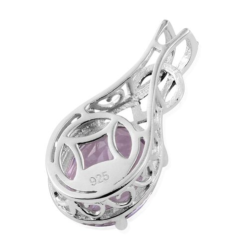 Rose De France Amethyst (Ovl) Solitaire Pendant in Platinum Overlay Sterling Silver 3.000 Ct.