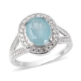 3.61 Ct Grandidierite and Zircon Halo Ring in Rhodium Plated Sterling Silver Ring