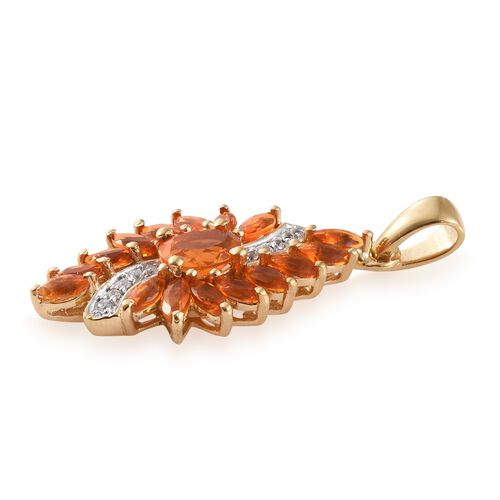 WEBEX- Jalisco Fire Opal (Ovl), Natural Cambodian Zircon Pendant in 14K Gold Overlay Sterling Silver 1.500 Ct.