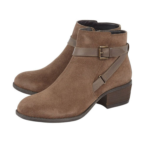 Lotus Dani Taupe Suede Ankle Boots with Wrap Around Buckle Details (Size 5)
