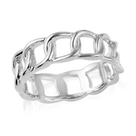 Platinum Overlay Sterling Silver Curb Band Ring