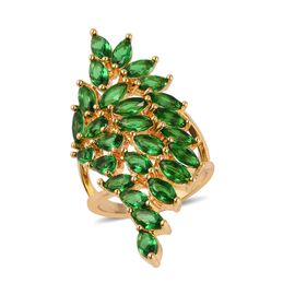 Simulated Emerald (Pear and Mrq) Ring in Yellow Gold Plated